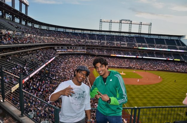 Students learn English the USA and attend a Colorado Rockies' baseball game.